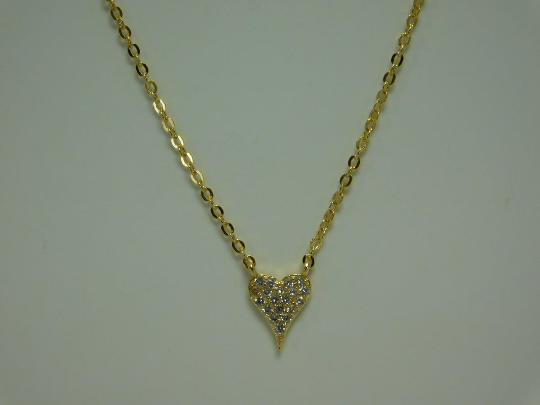 Sterling Silver Vermeil (Yellow gold over Silver) Heart SC Necklace