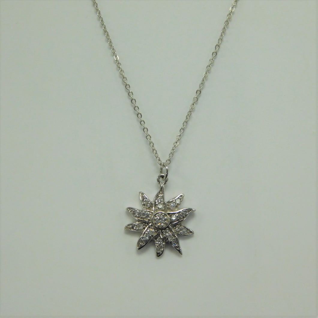 Sunflower CZ Sterling Silver SC Necklace