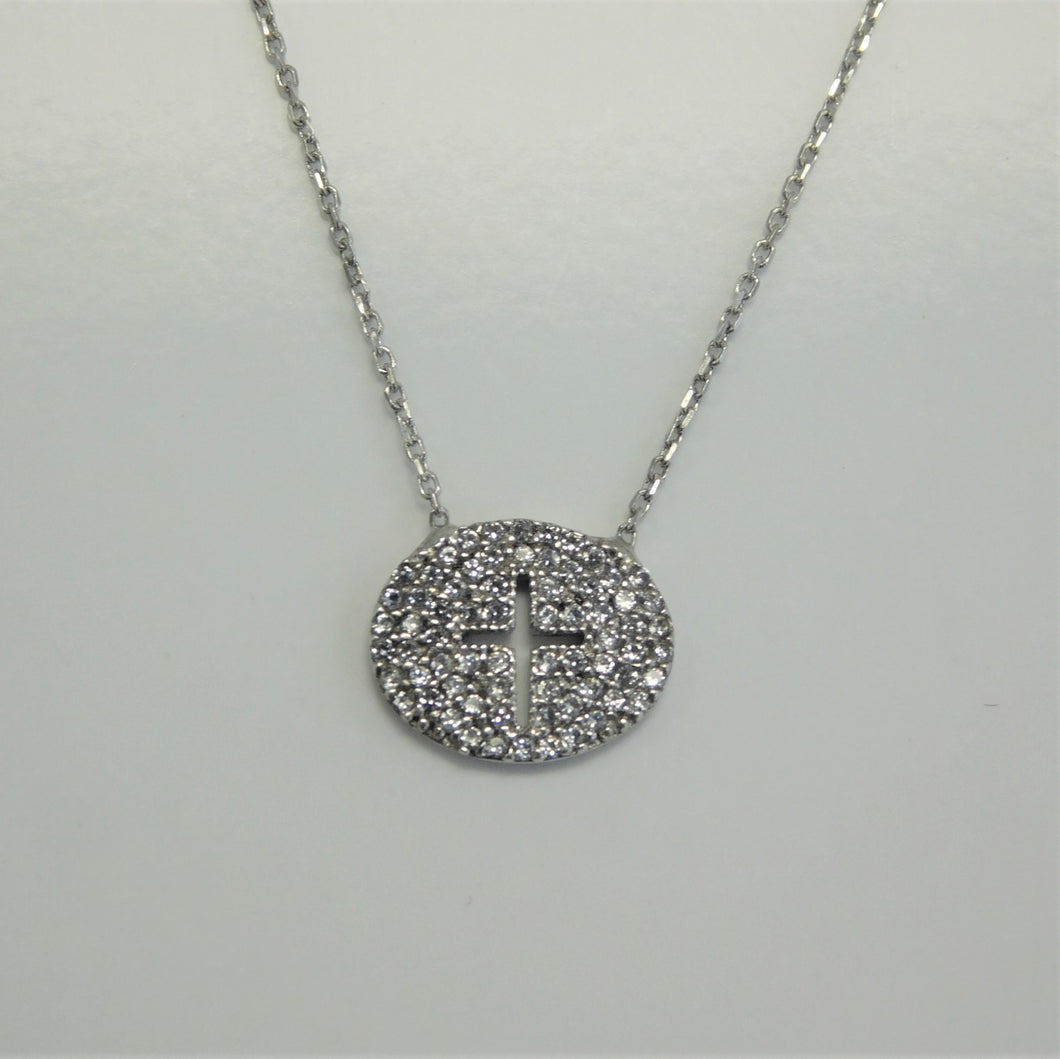 Round CZ Sterling Silver Cross SC Necklace