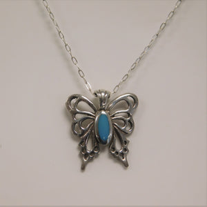 Sterling Silver Butterfly Turquoise Necklace