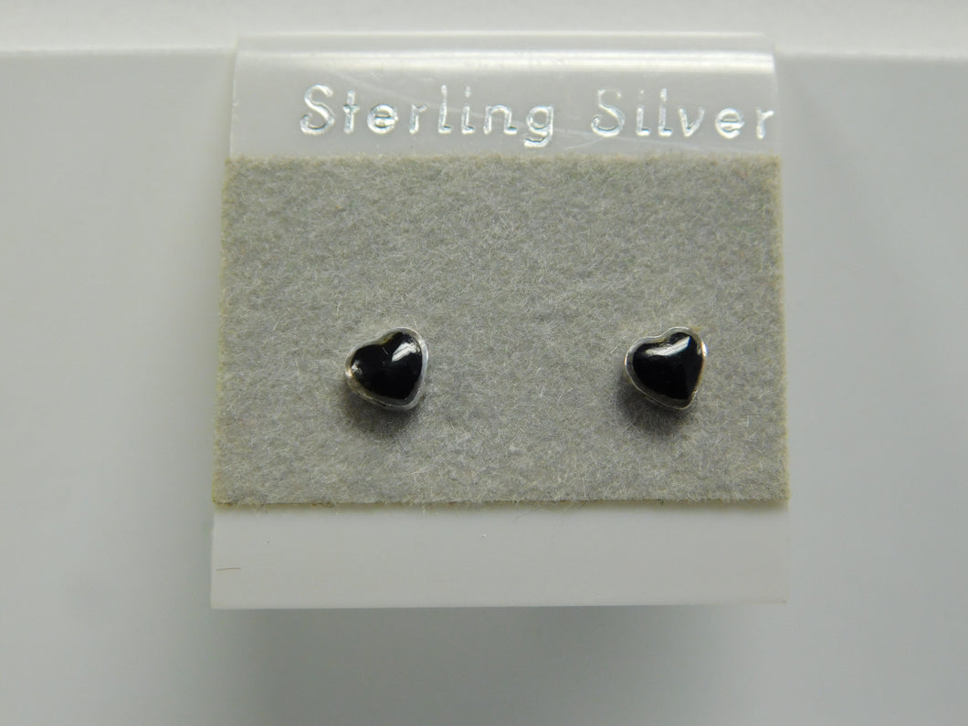 Sterling Silver Onyx heart Earring