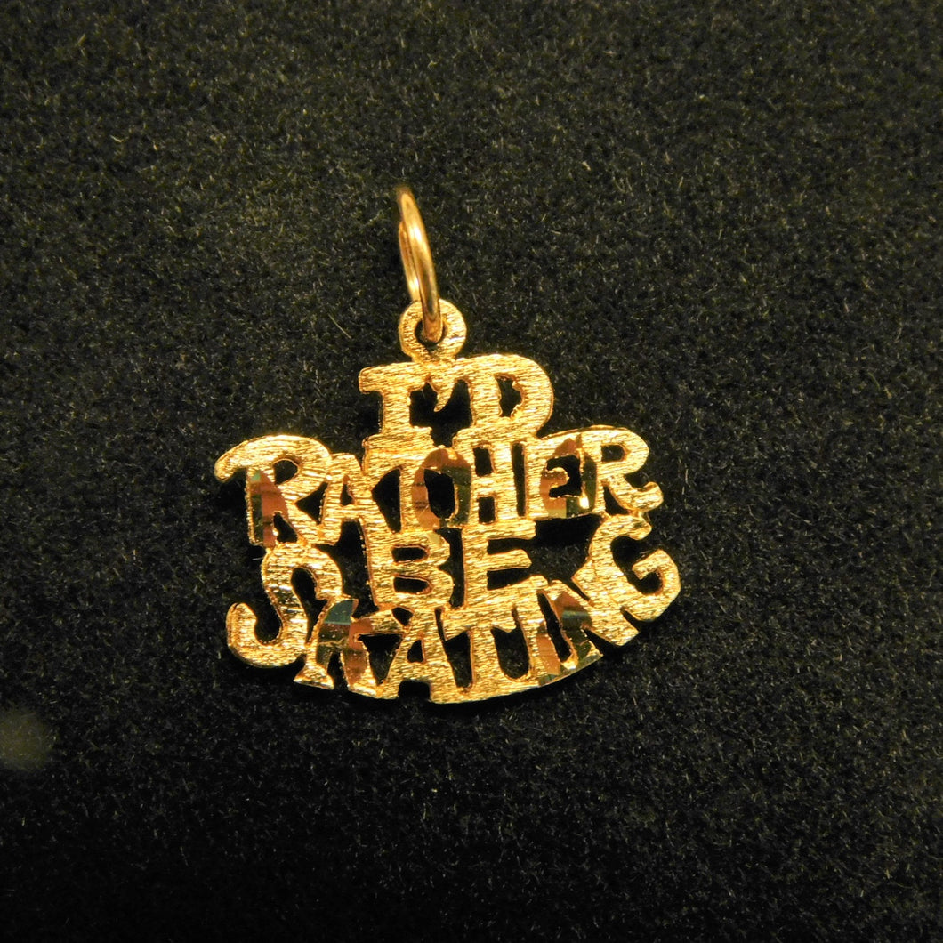 14K Gold 'I'd Rather Be Skating'Charm