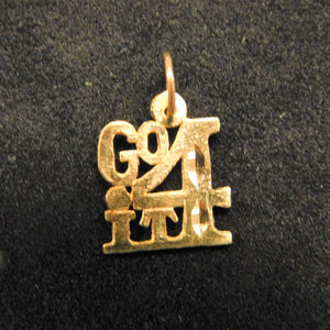 14K Gold Charm 'Go For It'