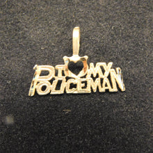 Load image into Gallery viewer, 14K Gold Charm 'I Love My Policeman'