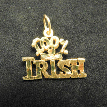 Load image into Gallery viewer, 14K Gold Charm '100% Irish'