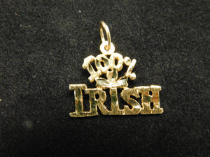 14K Gold Charm '100% Irish'