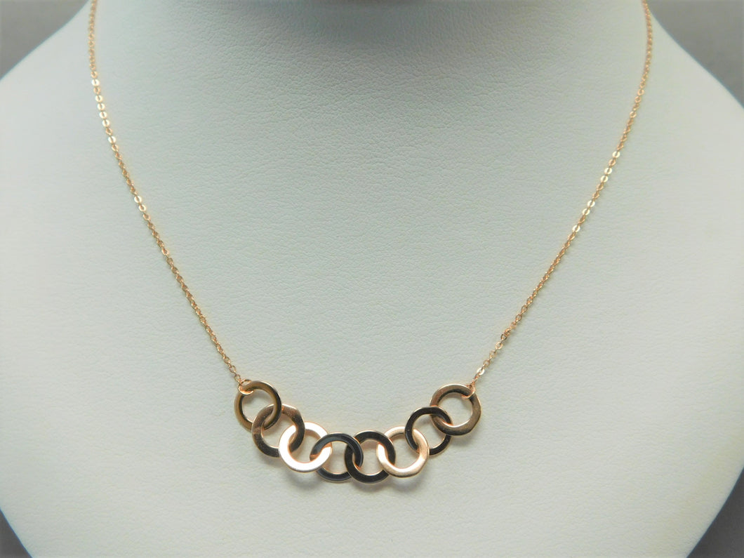 Sterling Silver Rose Gold Circles Necklace