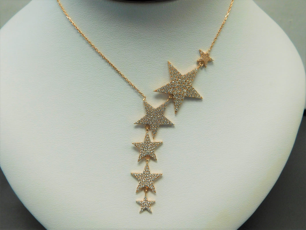 Sterling Silver Rose Gold Stars Necklace