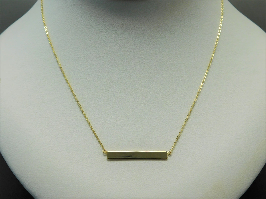 Sterling Silver Vermeil Rectangle Necklace. (Free engraving)