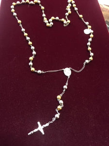 Two Tone Silver and Gold Stainless Steel Rosary