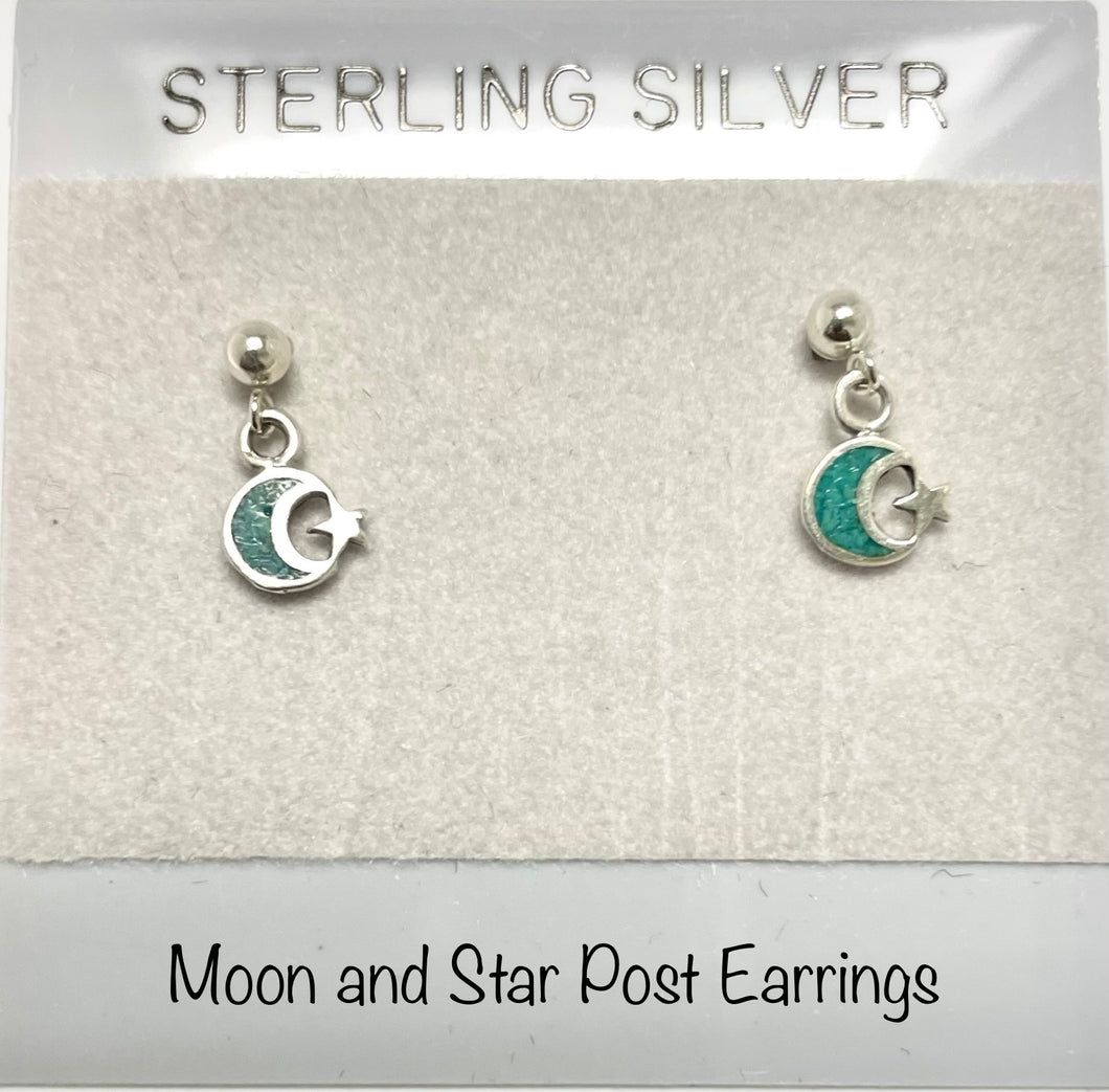 Sterling Silver Moon and Star Post Earrings
