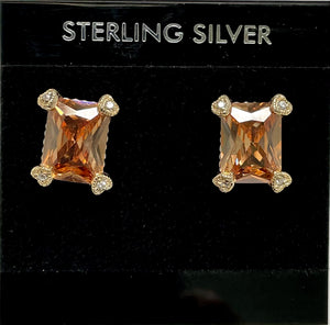 Sterling Silver Citrine and Cubic Zircon Post Earrings.