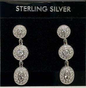 Sterling Silver Three Circle Cubic Zircon Post Dangle Earrings.