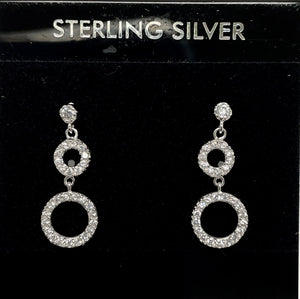 Sterling Silver Post Circle Dangle Earrings.
