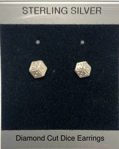Sterling Silver Dice Post Earrings