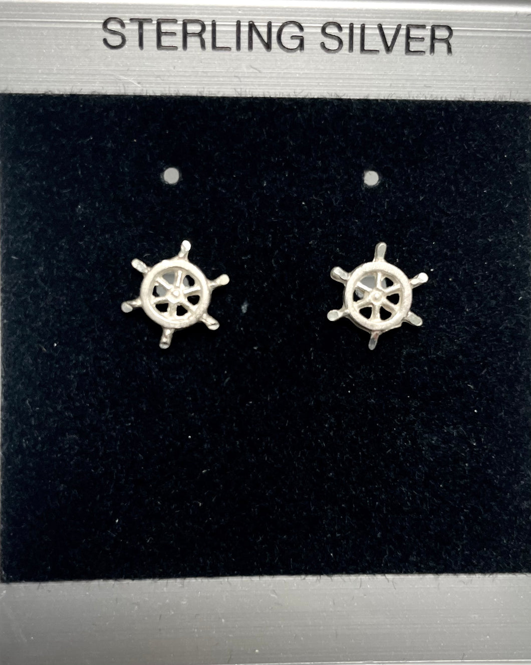 Sterling Silver Ships Wheel Post Earring.