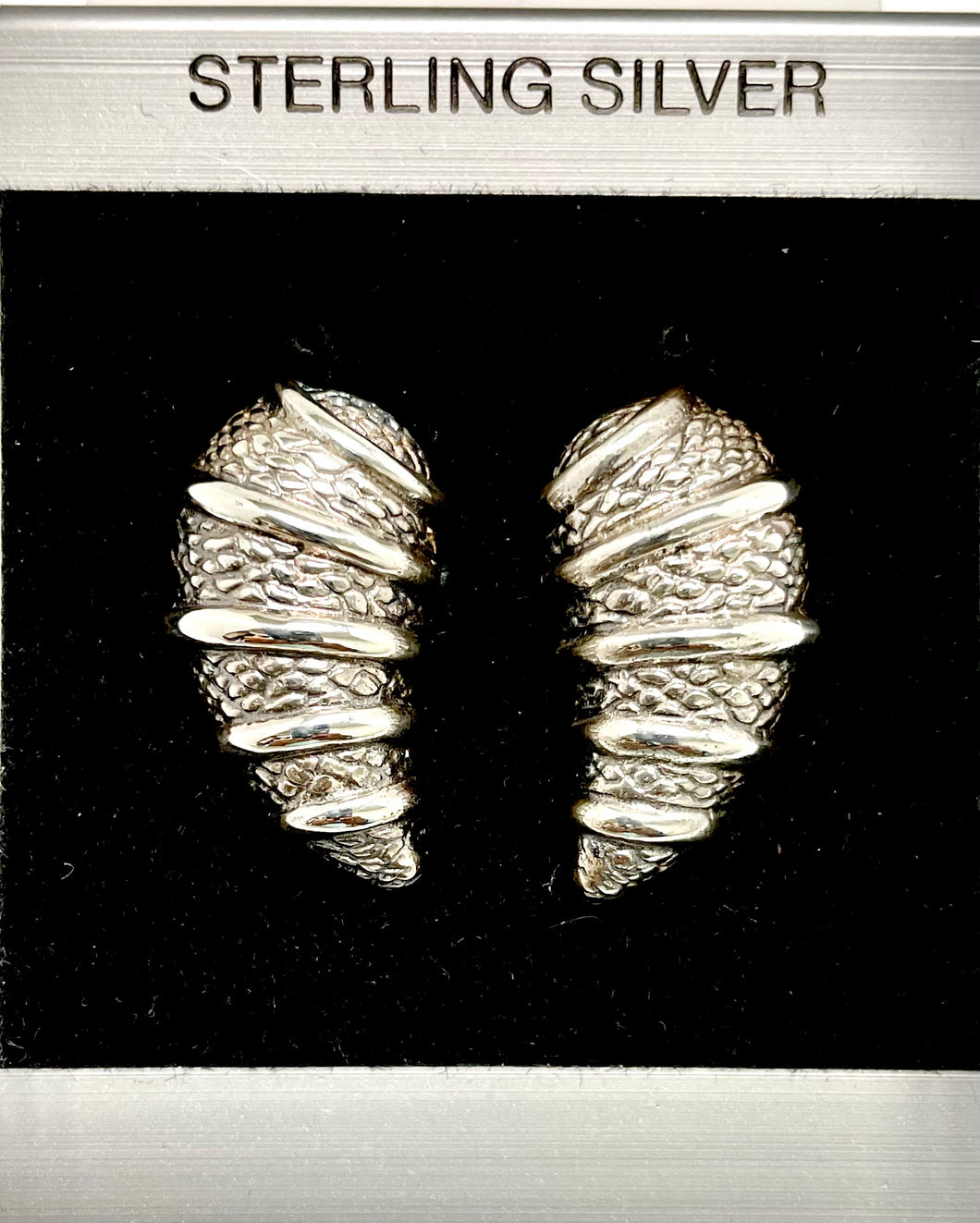Sterling Silver Cornucopia Post Earrings.