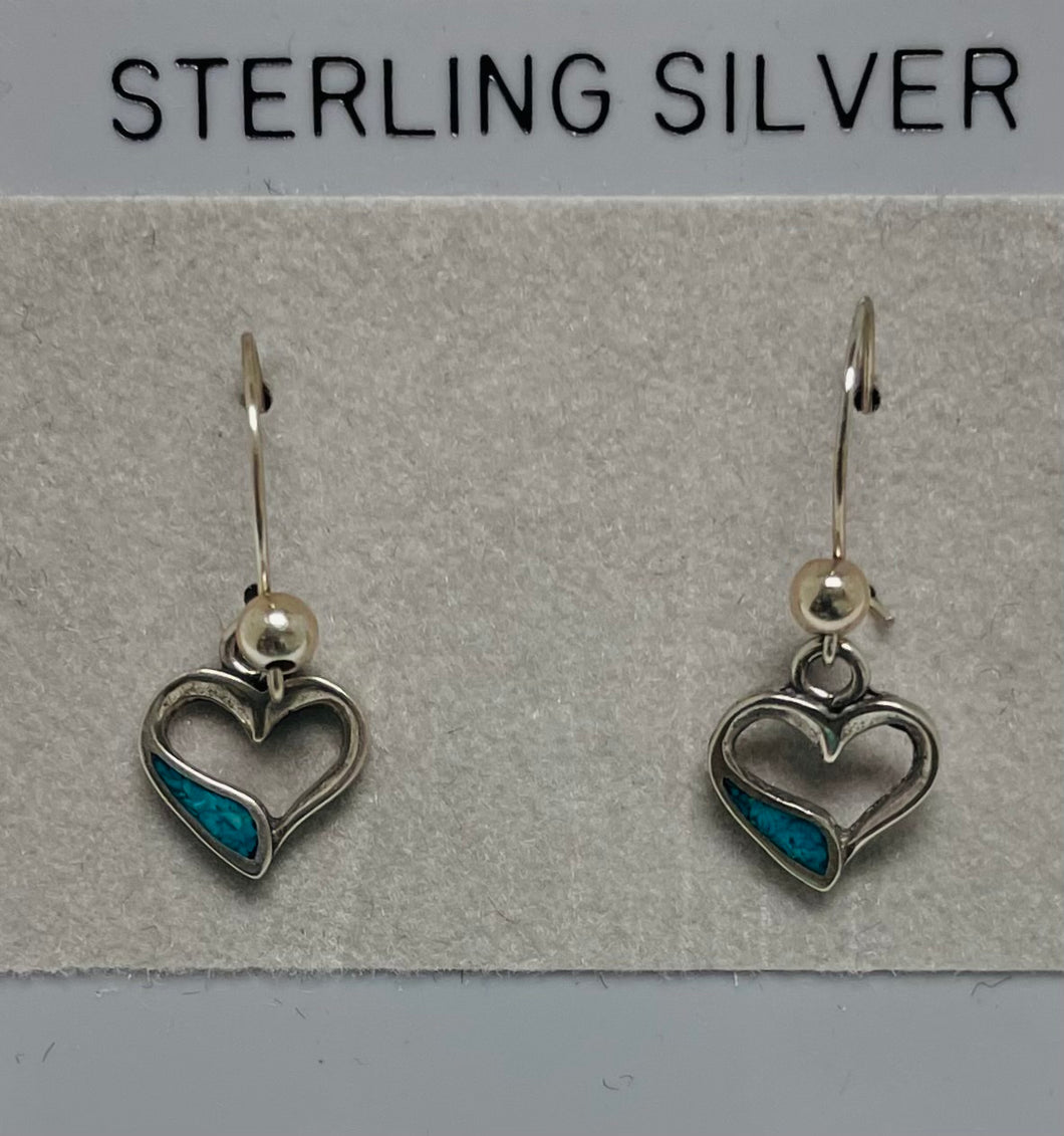Sterling Silver Open Heart Turquoise Earrings.