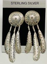 Load image into Gallery viewer, Sterling Silver Feather Drop Post Earrings.