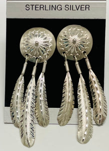 Sterling Silver Feather Drop Post Earrings.