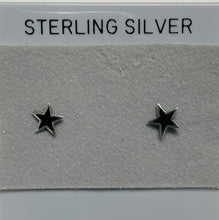 Load image into Gallery viewer, Sterling Silver Black Star Post Earrings.
