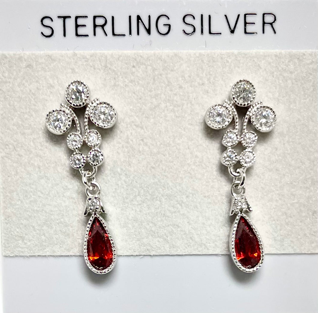 Sterling Silver CZ Post and Garnet Color Earrings.