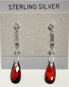 Sterling Silver CZ and Garnet Post Dangle Earrings.