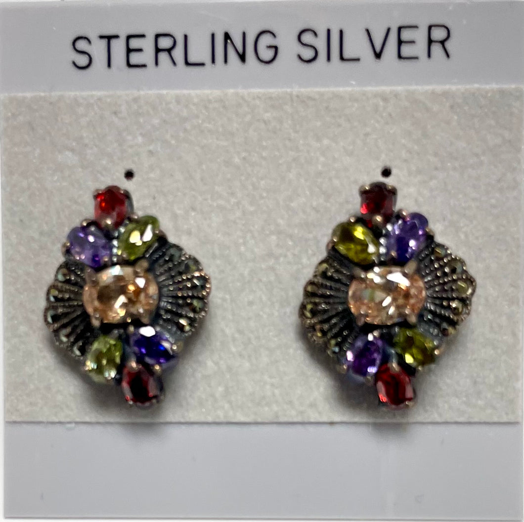 Sterling Silver Marcasite with Yellow Topaz/Garnet/Peridot and Amethyst Post Earrings