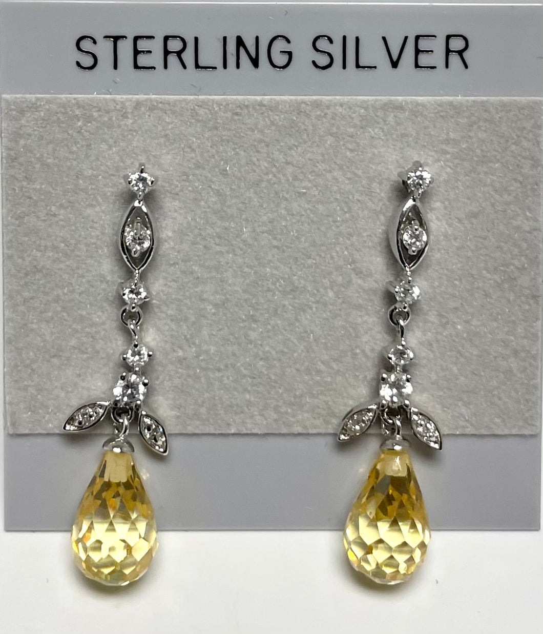 Sterling Silver Yellow Topaz Color Post Dangle Earrings.