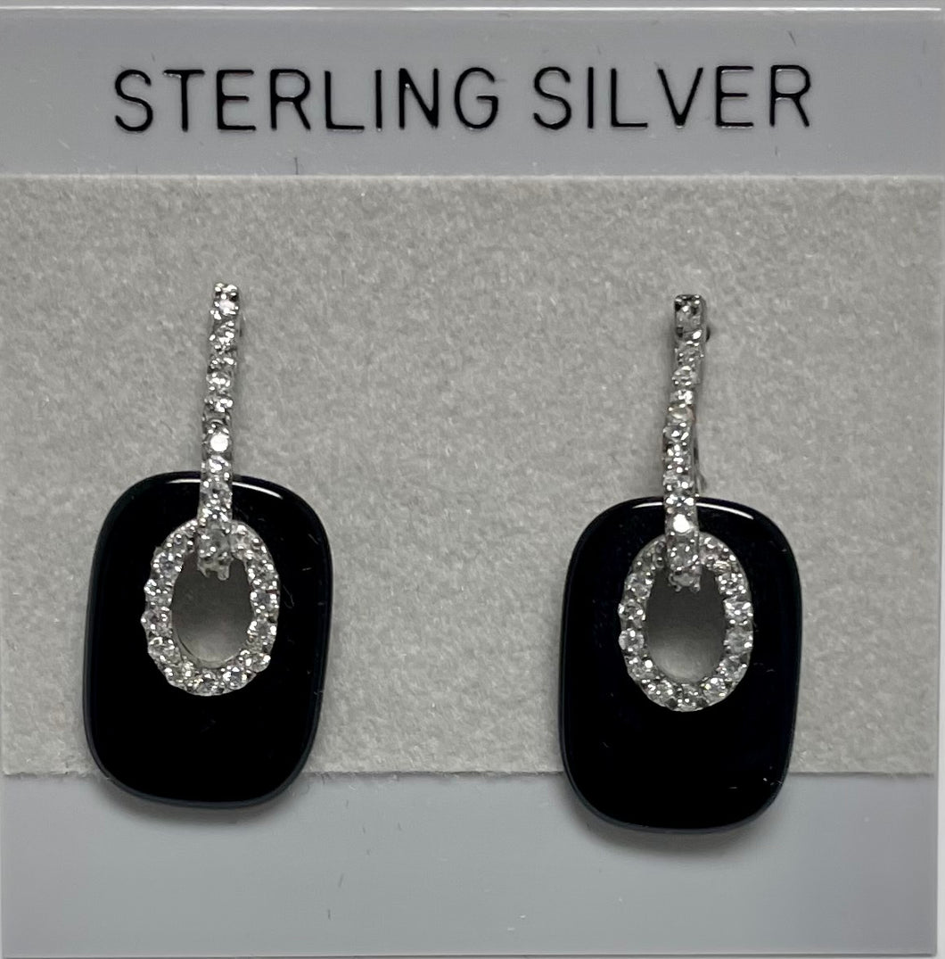 Sterling Silver Cubic Zircon Onyx Post Dangle Earrings.