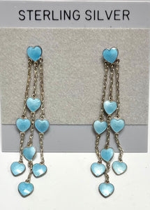 Sterling Silver Enamel Sky Blue Hearts Dangle Post Earrings.