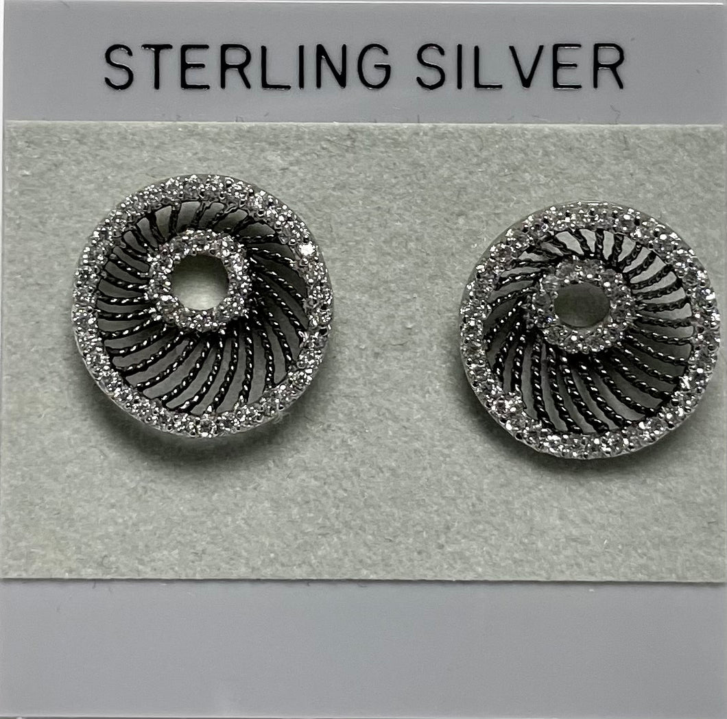Sterling Silver Cubic Zircon Designer Post Earrings.