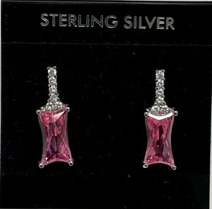 Sterling Silver Cubic Zircon Pink Tourmaline Color Post Earrings.