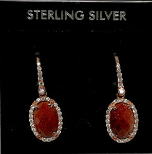 Sterling Silver Rose Gold Vermeil Gold Stone Earrings.