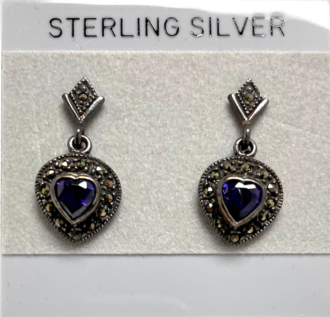 Sterling Silver Marcasite Amethyst Heart Post Dangle Earrings.