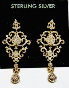 Sterling Silver Cubic Zircon Vermeil Yellow Gold Chandelier Post Dangle Earrings.