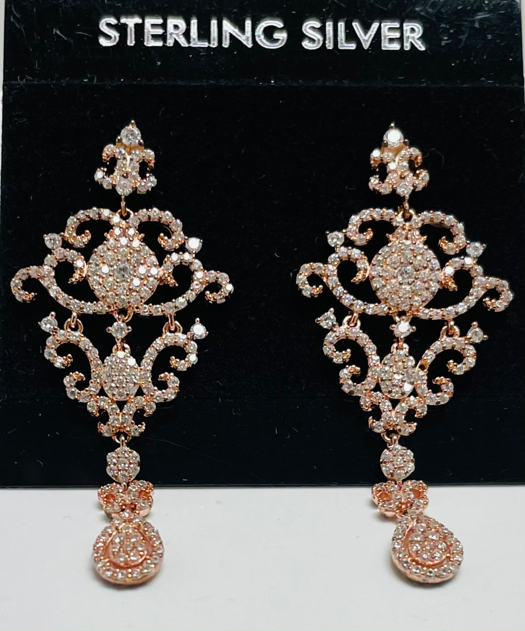 Sterling Silver Cubic Zircon Vermeil Rose Gold Chandelier Earrings.