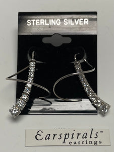 Sterling Silver Cubic Zircon Ear Spiral Earrings.