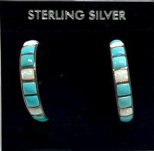 Sterling Silver Turquoise and Opal Post Semi Hoop Earrings.