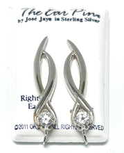 Load image into Gallery viewer, Sterling Silver Ear Pin with Cubic Zircons.
