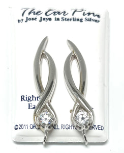 Sterling Silver Ear Pin with Cubic Zircons.
