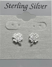 Load image into Gallery viewer, Sterling Silver Four Leaf Clover Cubic Zircon Earrings.