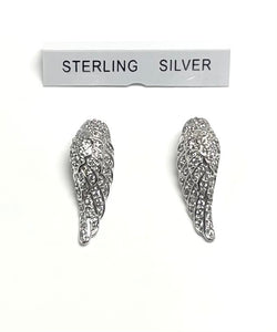 Sterling Silver Angel Wings Cubic Zircon Earrings.