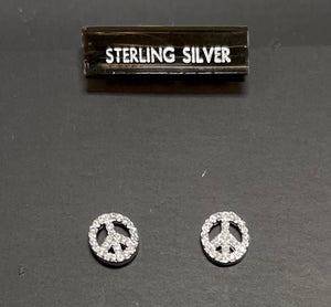 Sterling Silver Cubic Zircon Peace Sign Earrings.