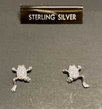 Load image into Gallery viewer, Sterling Silver Cubic Zircon Frog Earrings.