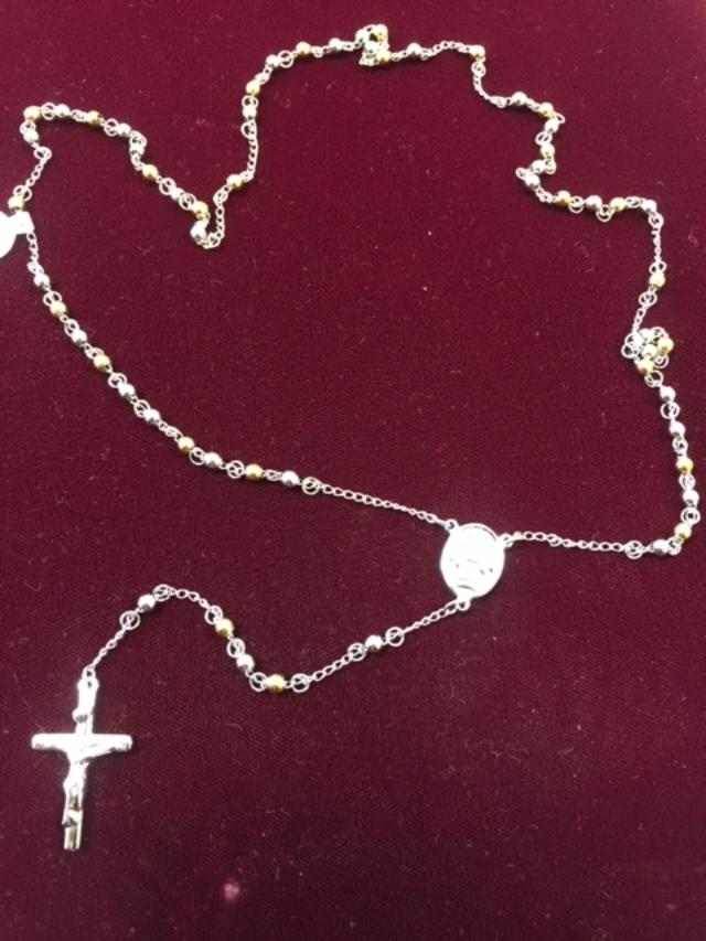 Religious Stainless Steel Rosary Two Tone