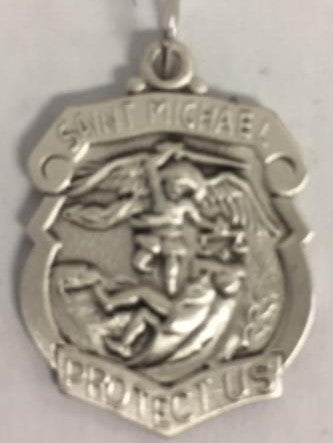 Saint Michael Shield Sterling Silver Medal