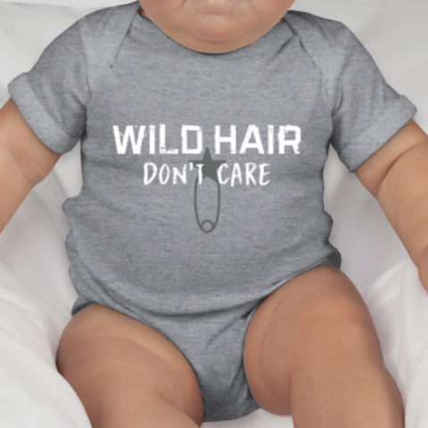 Wild Hair Don't Care Infant Jersey One-Piece: Grey