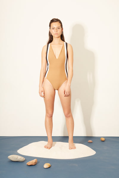Nude Side Strip Plunge One-piece
