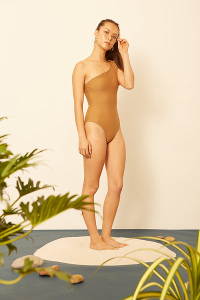 Nude One Shoulder One-piece